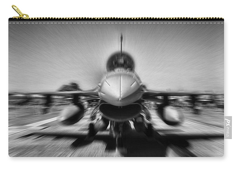 Lockheed F-16c Fighting Falcon Carry-all Pouch featuring the photograph Runway Speed by Douglas Barnard