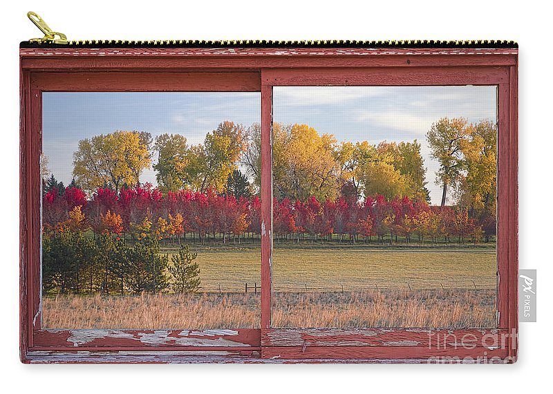 Picture Carry-all Pouch featuring the photograph Rural Country Autumn Scenic Window View by James BO Insogna