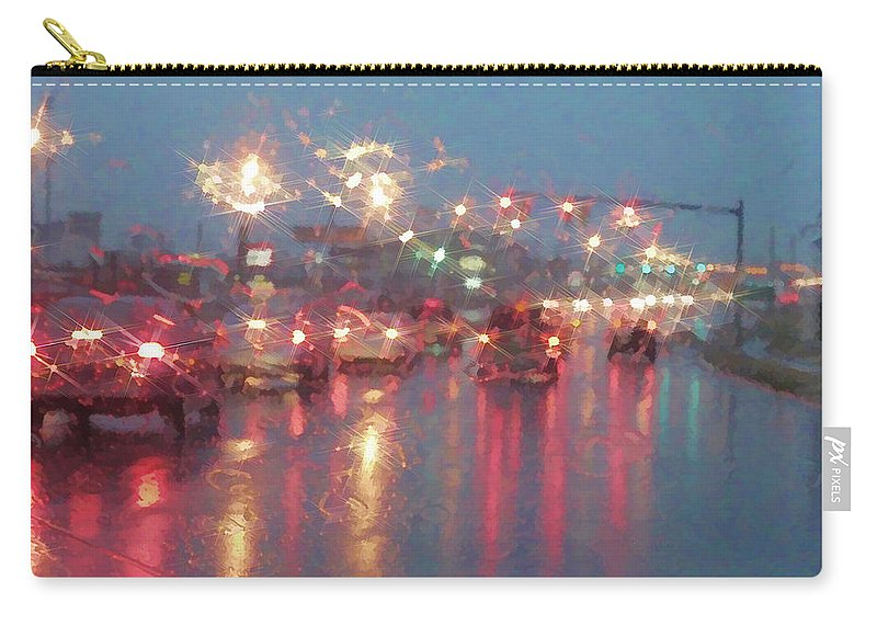 Traffic Carry-all Pouch featuring the photograph Rush Hour In The Rain by Kathy Clark