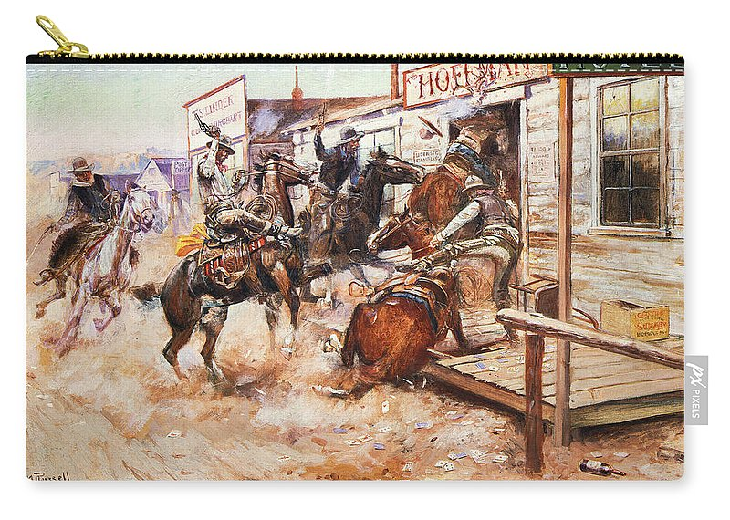 1909 Carry-all Pouch featuring the photograph Russell Cowboy Art, 1909 by Granger