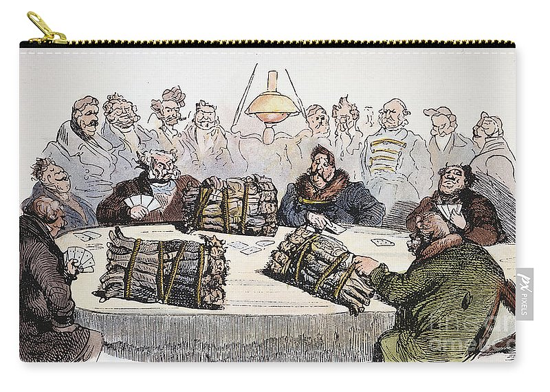 1854 Carry-all Pouch featuring the drawing Russian Cartoon, 1854 by Gustave Dore
