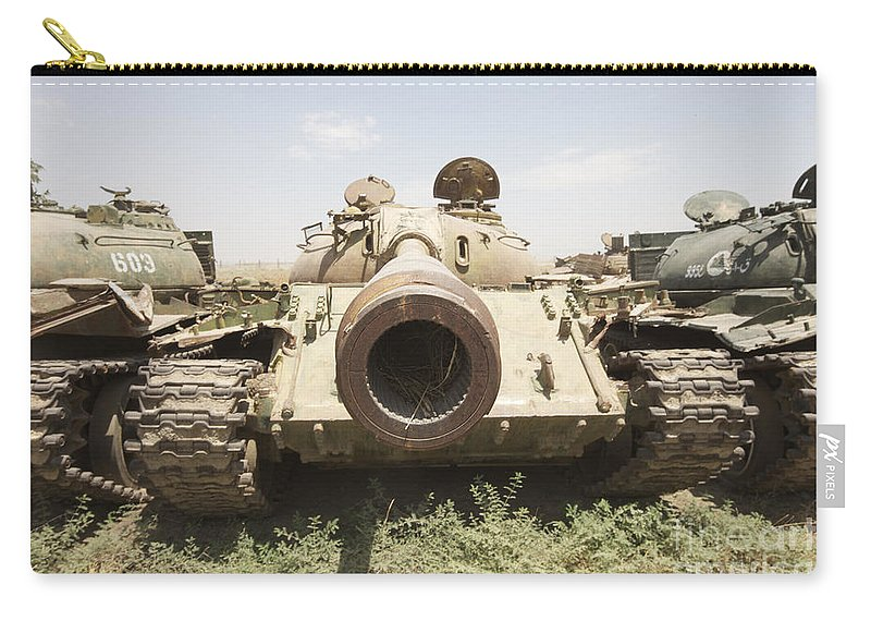 Afghanistan Carry-all Pouch featuring the photograph Russian T-54 And T-55 Main Battle Tanks by Terry Moore