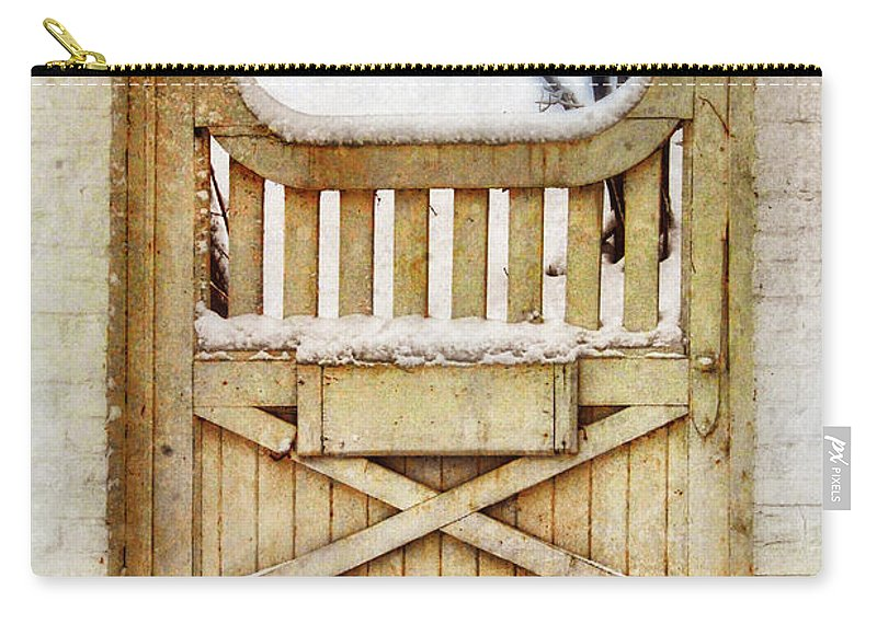 Home Carry-all Pouch featuring the photograph Rustic Wooden Gate In Snow by Jill Battaglia
