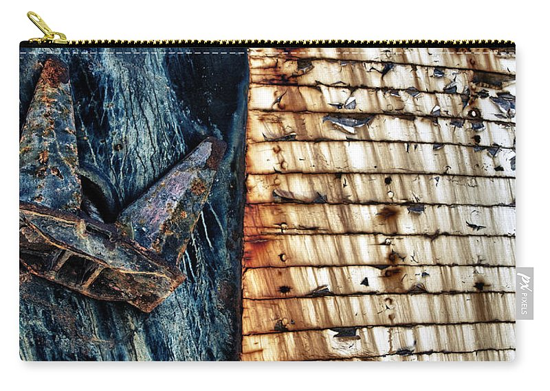 Anchor Carry-all Pouch featuring the photograph Rusting Boat Anchor by Stelios Kleanthous