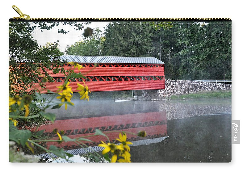 Sachs Covered Bridge Carry-all Pouch featuring the photograph Sachs Covered Bridge At Gettysburg by Bill Cannon