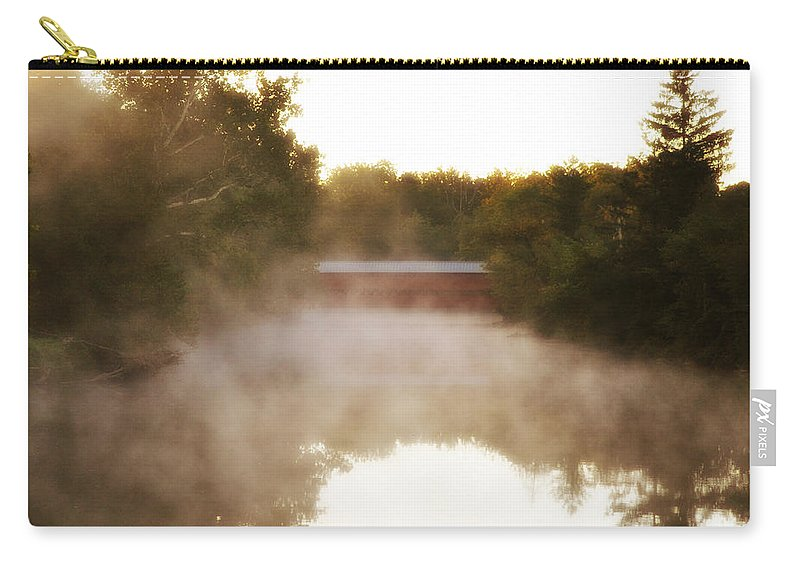 Sachs Covered Bridge In The Mist Carry-all Pouch featuring the photograph Sachs Covered Bridge In The Mist by Bill Cannon
