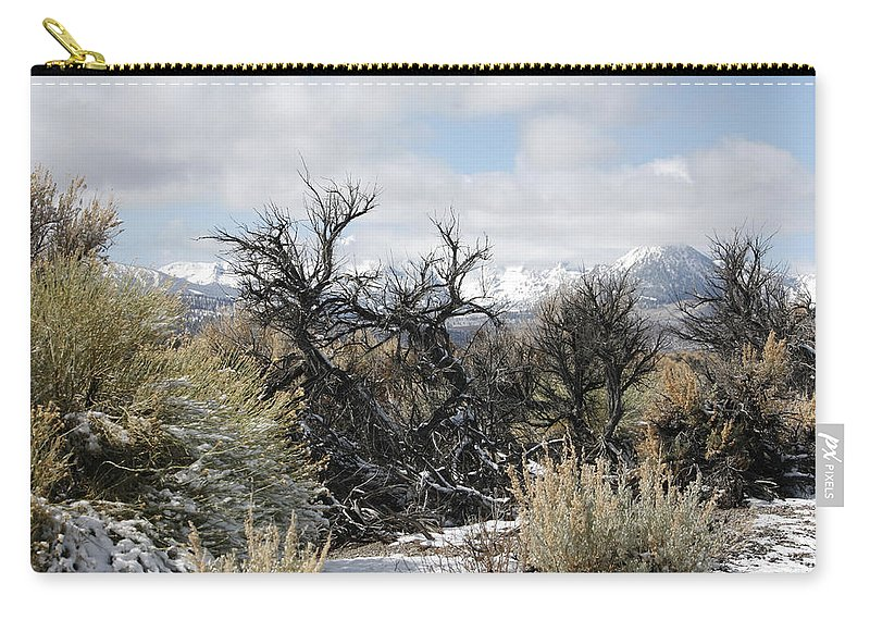 Sagebrush And Snow Carry-all Pouch featuring the photograph Sagebrush And Snow by Wes and Dotty Weber
