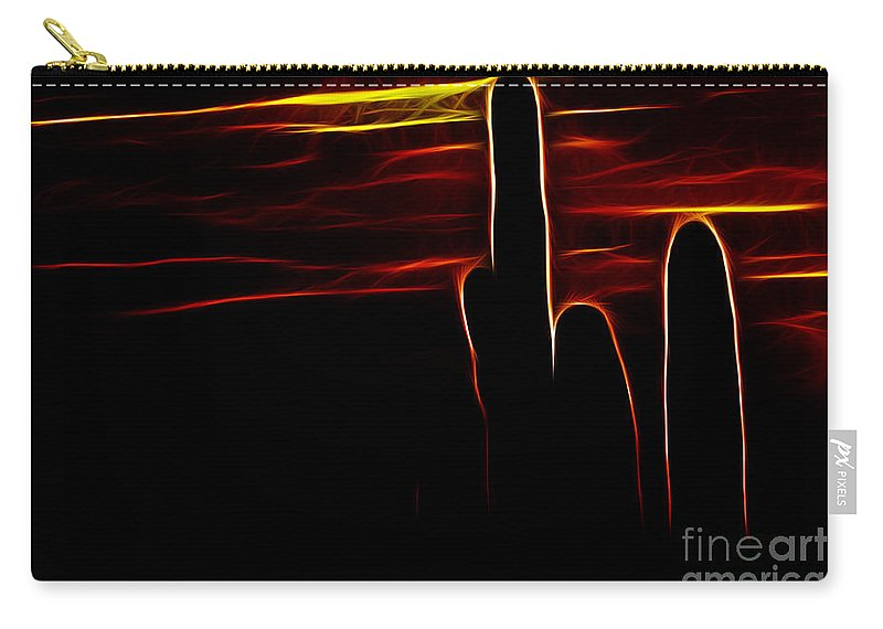 Cactus Carry-all Pouch featuring the photograph Saguro Cactus Silhouette by Darleen Stry