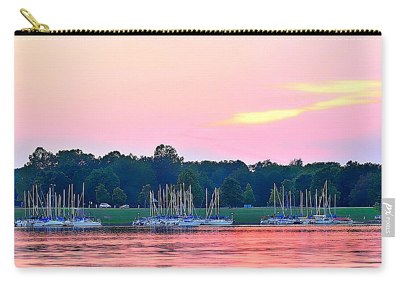 Pink Sunset Carry-all Pouch featuring the photograph Sail Boats Pretty In Pink by Randall Branham
