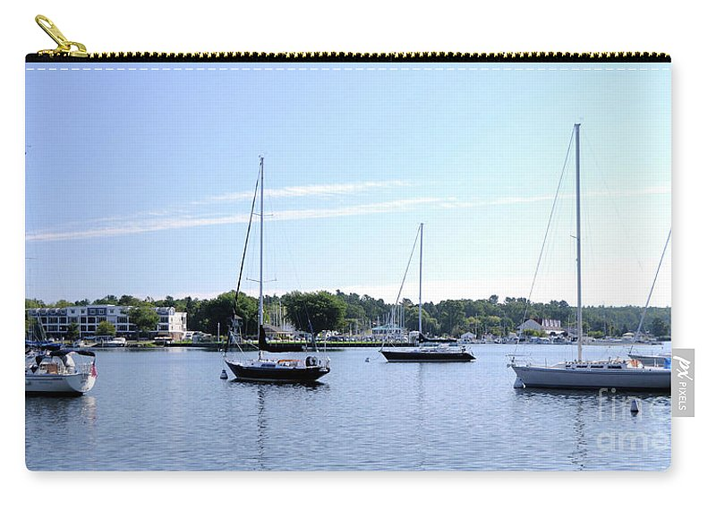 Sailboats Carry-all Pouch featuring the photograph Sailboats In Bay by Ronald Grogan