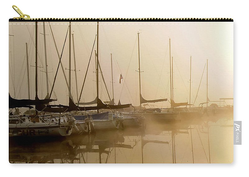 Sailbots Water Carry-all Pouch featuring the photograph Sailboats In Golden Fog by Randall Branham