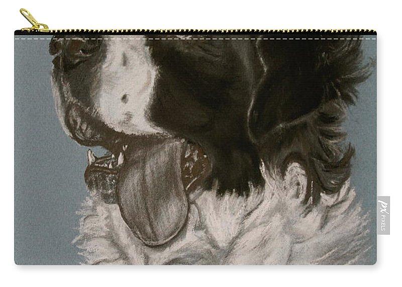 Saint Bernard Carry-all Pouch featuring the drawing Saint Bernard by Susan Herber