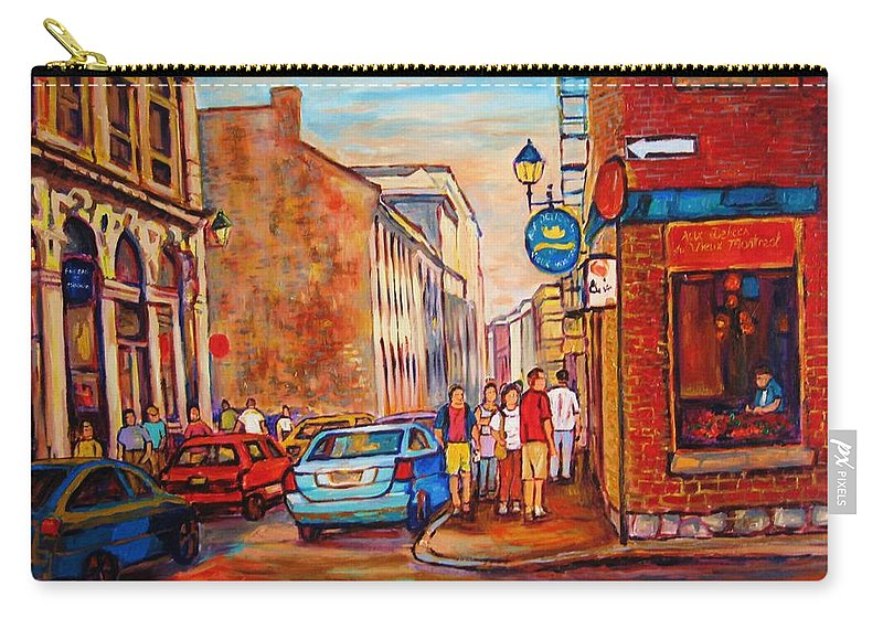 Streetscene Carry-all Pouch featuring the painting Saint Paul Street Montreal by Carole Spandau