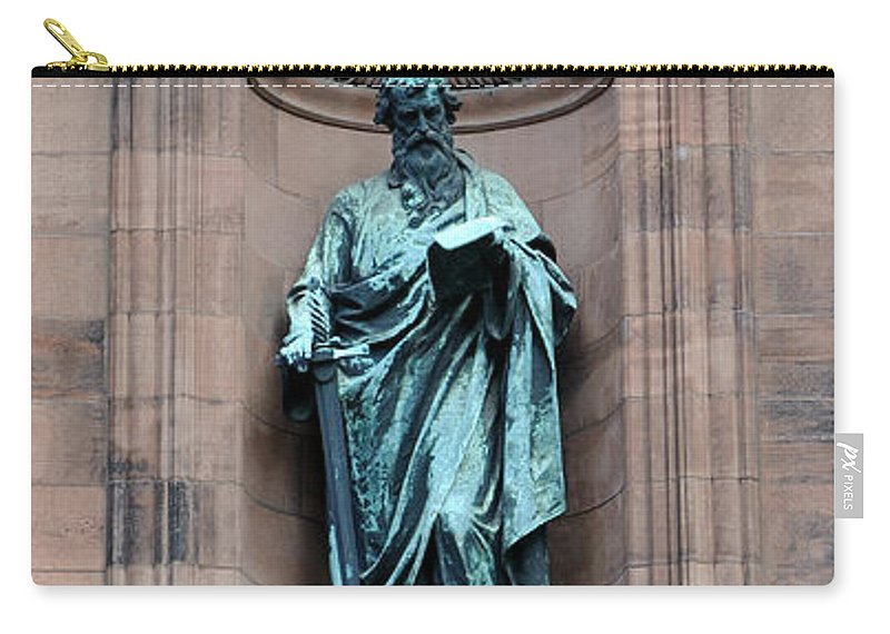 Alcove Carry-all Pouch featuring the photograph Saint Peter Statue - Historic Philadelphia Basilica by Gary Whitton