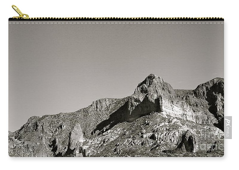 Salt River Canyon Carry-all Pouch featuring the photograph Salt River Black And White by Pamela Walrath