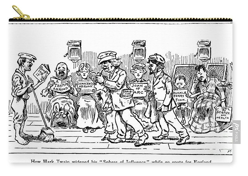 1907 Carry-all Pouch featuring the photograph Samuel L. Clemens Cartoon by Granger