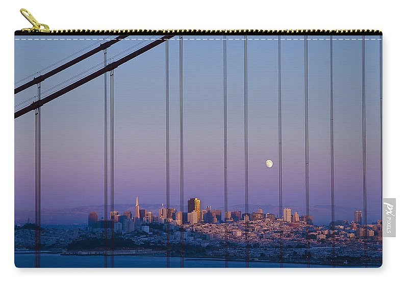 San Francisco Carry-all Pouch featuring the photograph San Francisco Moon by Jack Daulton