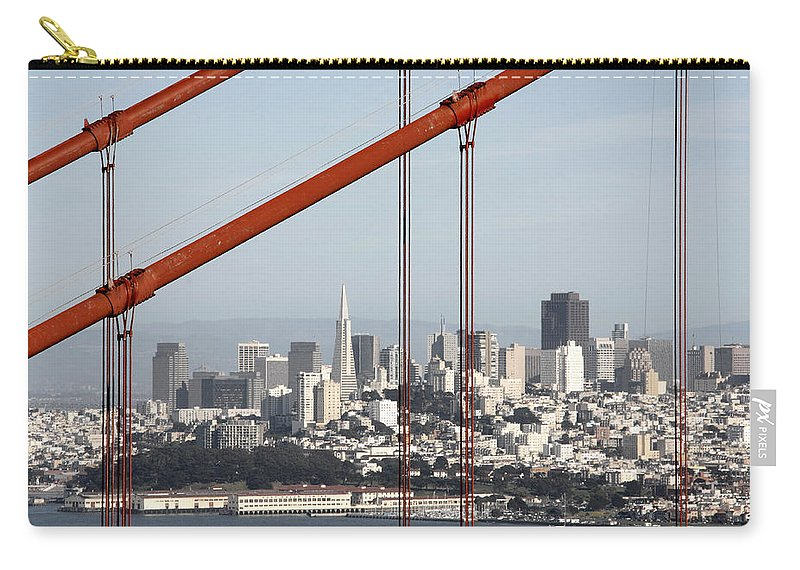 San Francisco Through The Cables Carry-all Pouch featuring the photograph San Francisco Through The Cables by Wes and Dotty Weber