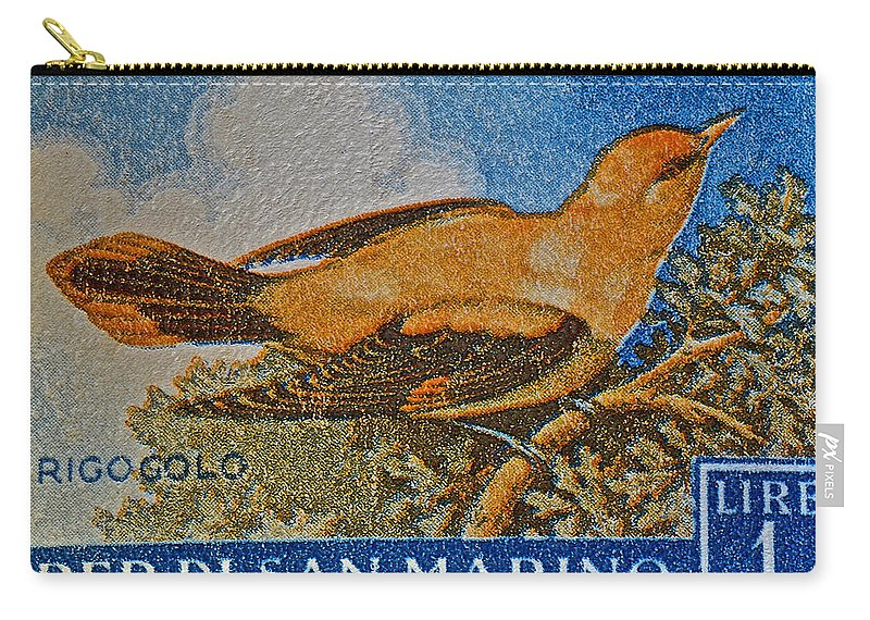 San Marino Carry-all Pouch featuring the photograph San Marino 1 Lire Stamp by Bill Owen