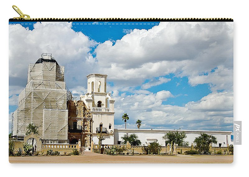 San Xavier De Bac Mission Carry-all Pouch featuring the photograph San Xavier Mission Tucson Az by Jon Berghoff