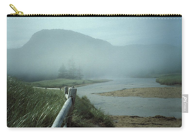 Sand Beach Carry-all Pouch featuring the photograph Sand Beach Fog by Brent L Ander