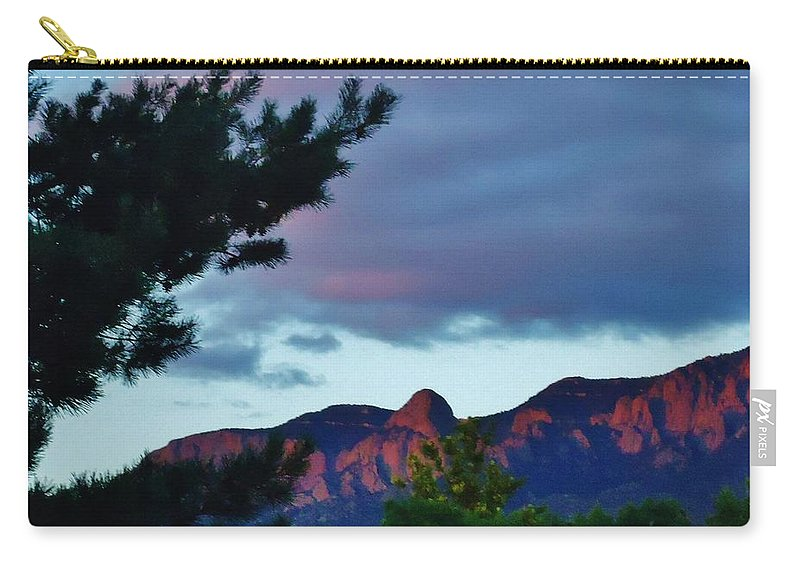Mountains Carry-all Pouch featuring the photograph Sandia Mountains At Sunset by Lois  Rivera