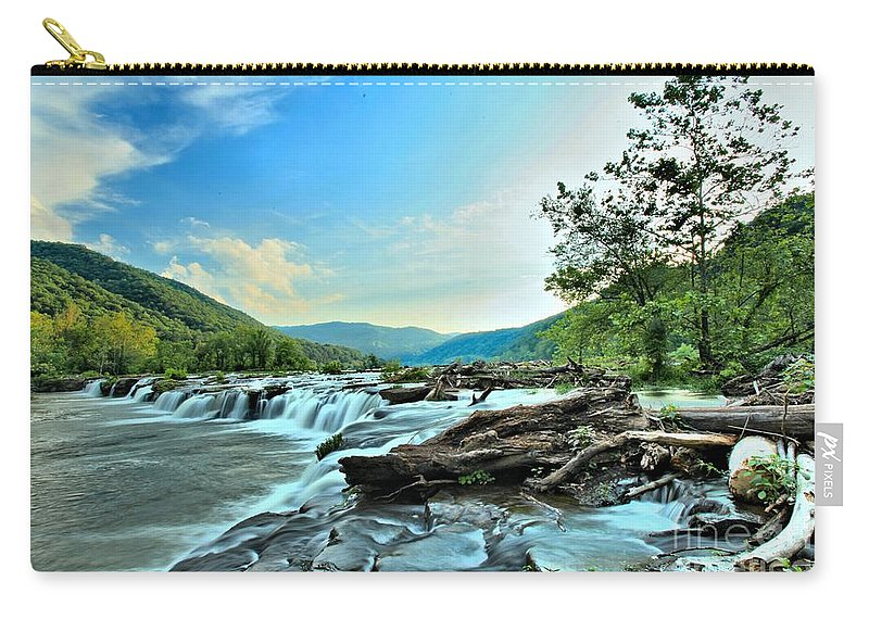 Sandstone Falls Carry-all Pouch featuring the photograph Sandstone At New River by Adam Jewell