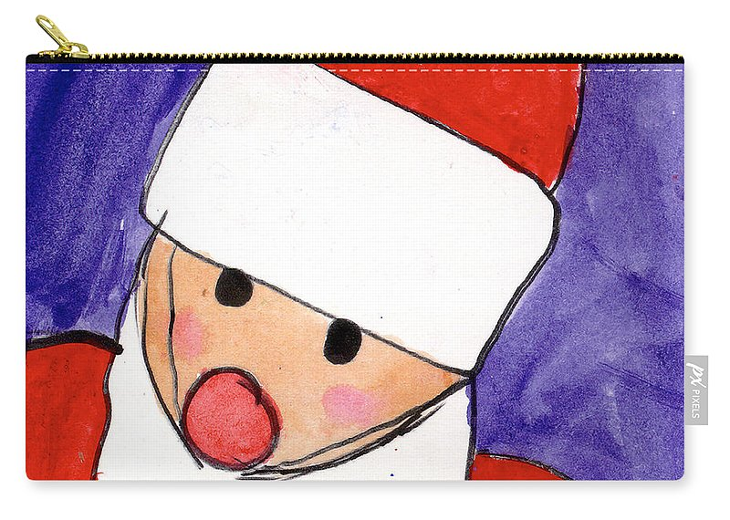 Santa Carry-all Pouch featuring the painting Santa by Taylor Spera Age Eight