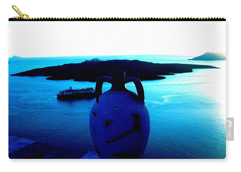 Colette Carry-all Pouch featuring the photograph Santorini By Night Greece by Colette V Hera Guggenheim