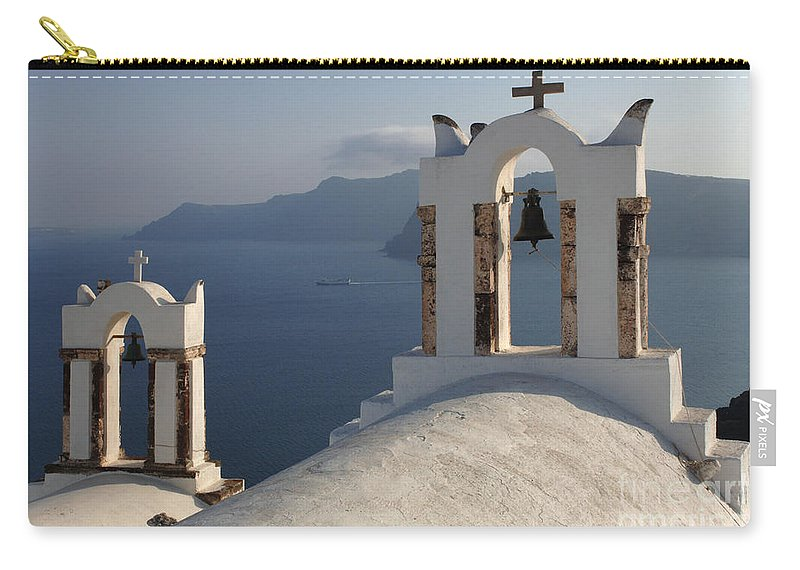 Greece Carry-all Pouch featuring the photograph Santorini Churches by Bob Christopher