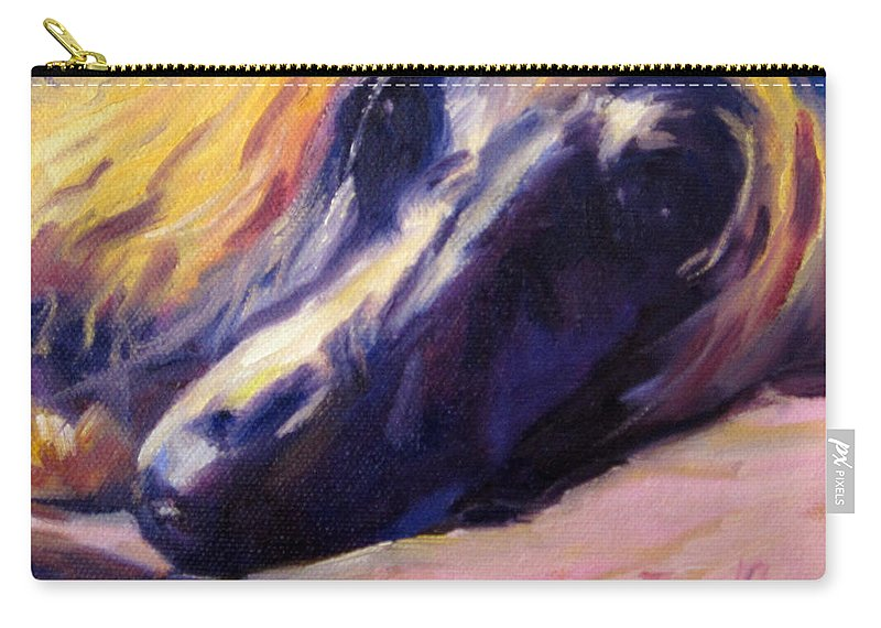 Afghan Hound Sighthound Dog Pet Portrait Carry-all Pouch featuring the painting Sassie by Terry Chacon