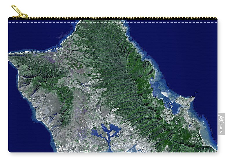 Pacific Islands Carry-all Pouch featuring the photograph Satellite Image Of Oahu, Hawaii by Stocktrek Images