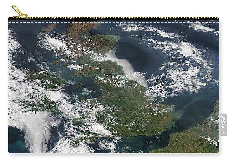 Cloud Carry-all Pouch featuring the photograph Satellite Image Of Smog Over The United by Stocktrek Images