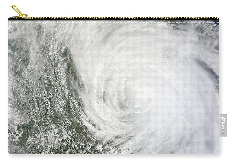 Meteorology Carry-all Pouch featuring the photograph Satellite Image Of Tropical Storm Muifa by Stocktrek Images