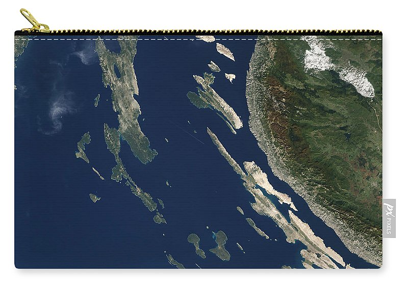 Island Carry-all Pouch featuring the photograph Satellite View Of The Croatian Islands by Stocktrek Images