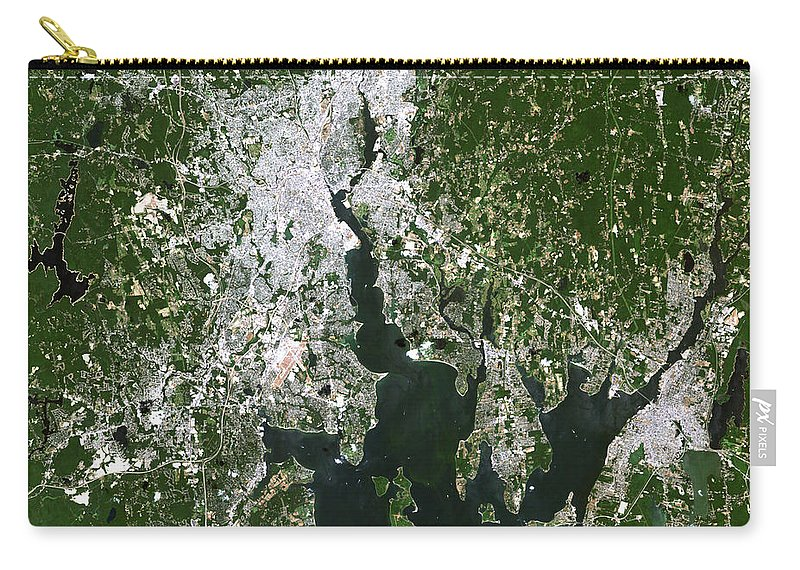 Close-up Carry-all Pouch featuring the photograph Satellite View Of The Pawtucket by Stocktrek Images