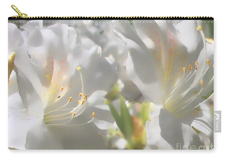 Nature Carry-all Pouch featuring the photograph Satin White Azaleas by Debbie Portwood