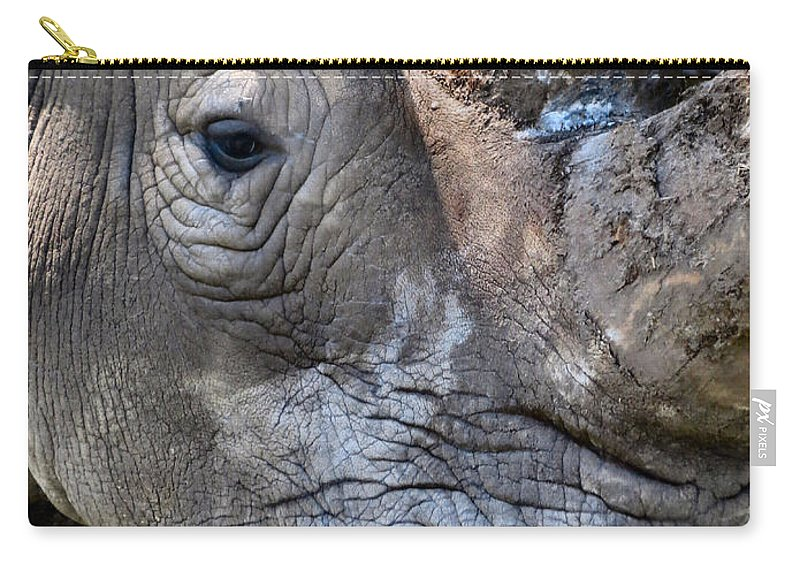 Rhinoceros Carry-all Pouch featuring the photograph Save Me by Art Dingo