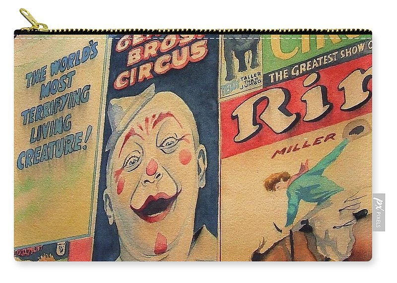 Circus Carry-all Pouch featuring the painting Sawdust And Greasepaint 2 by Greg and Linda Halom