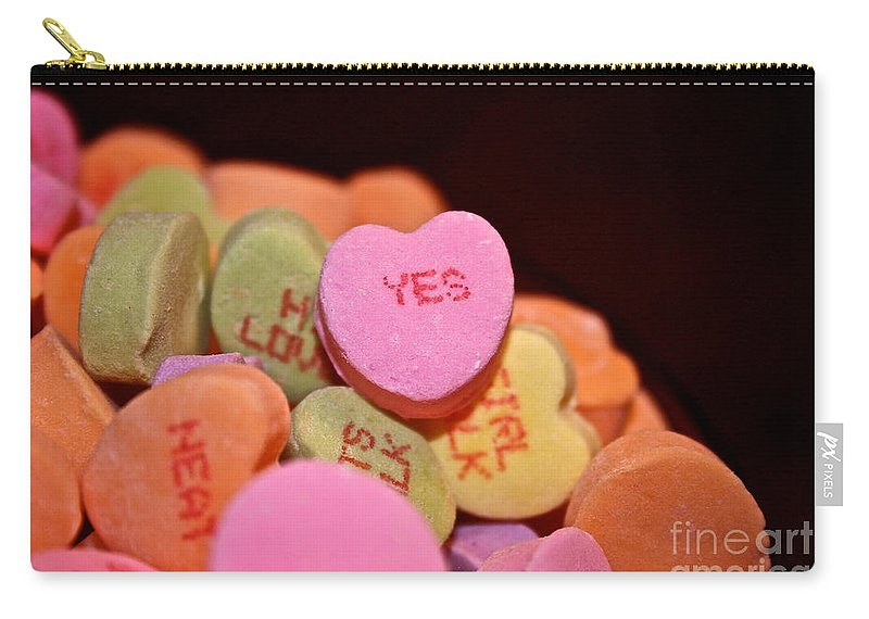 Candy Carry-all Pouch featuring the photograph Say Yes by Susan Herber