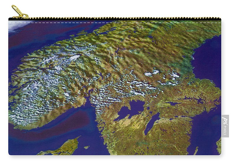 Aerial View Carry-all Pouch featuring the photograph Scandinavia by Science Source