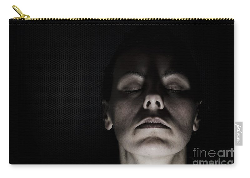 Sad Carry-all Pouch featuring the photograph Scary Woman by Mats Silvan