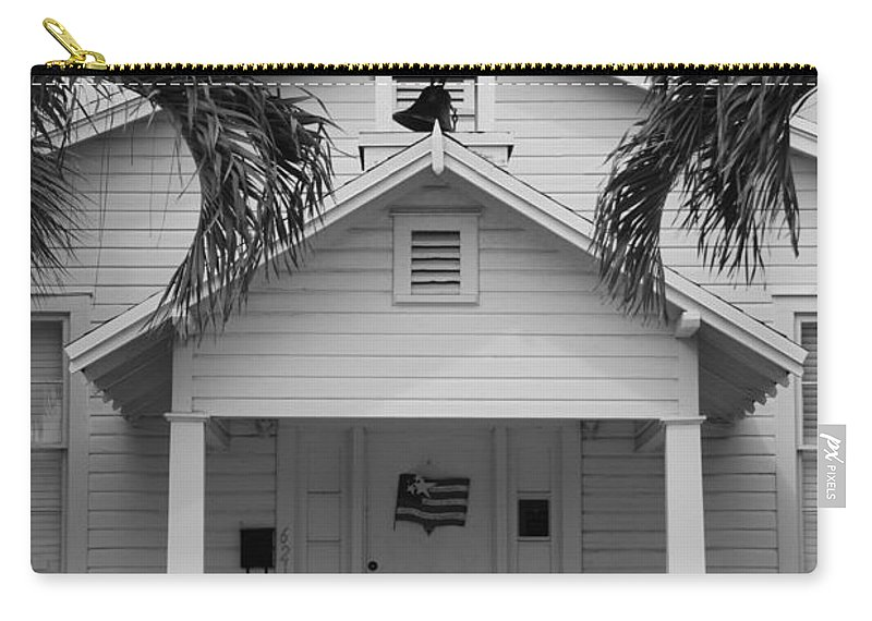 Architecture Carry-all Pouch featuring the photograph School House In Black And White by Rob Hans