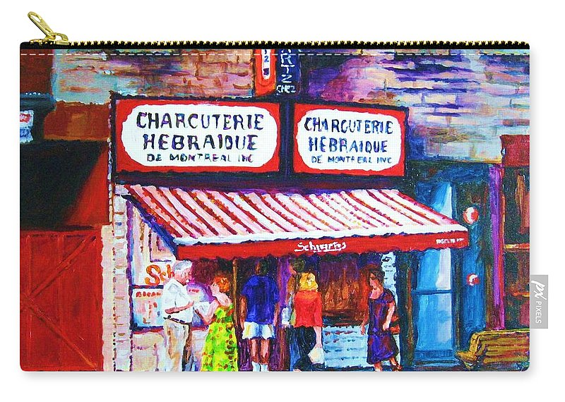 Cityscene Carry-all Pouch featuring the painting Schwartz's Deli With Lady In Green Dress by Carole Spandau