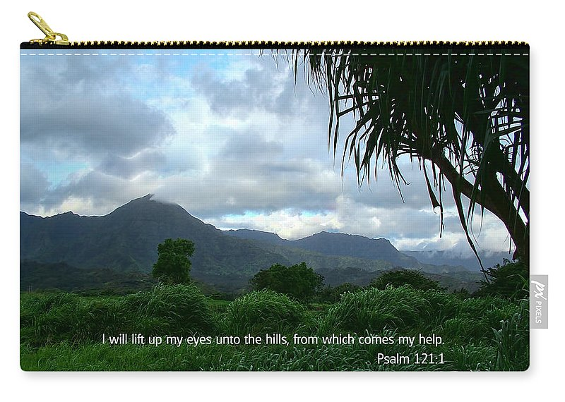 Scripture And Picture Psalm 121:1 Carry-all Pouch featuring the photograph Scripture And Picture Psalm 121 1 by Ken Smith