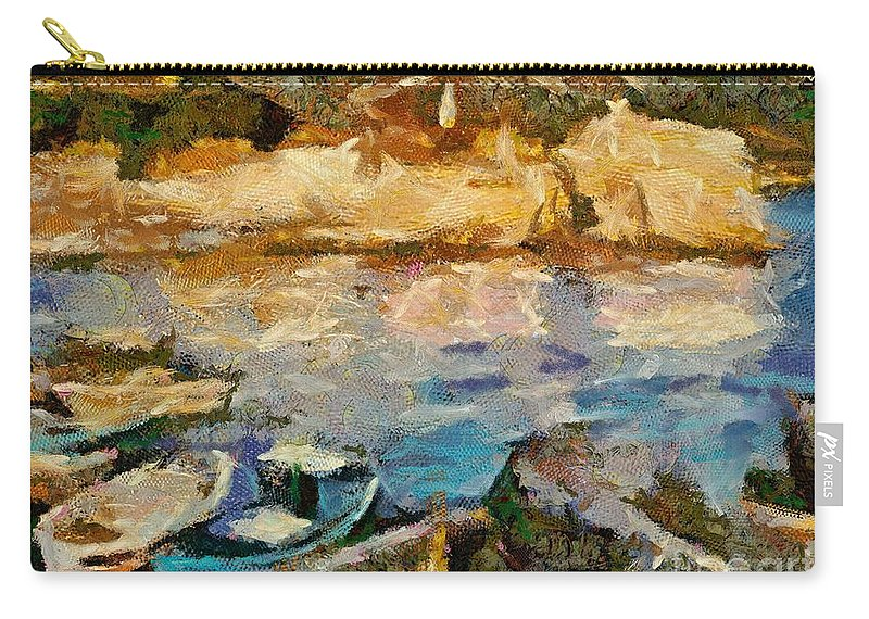 Seascape Carry-all Pouch featuring the painting Sea Front On Mediterranean Sea by Dragica Micki Fortuna