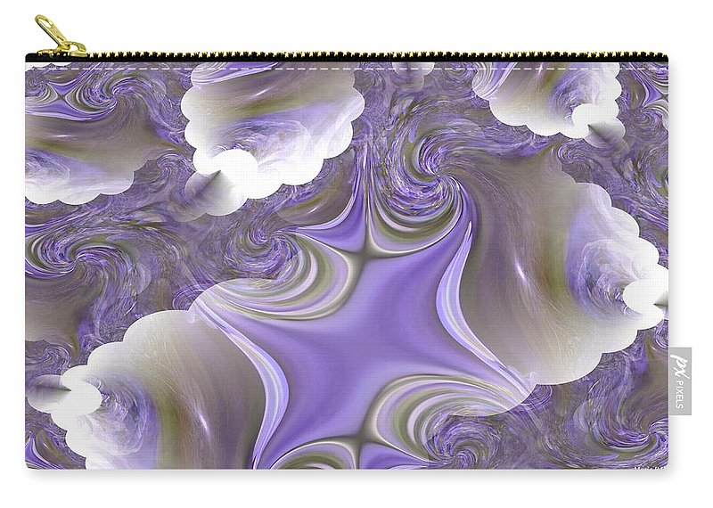 Seashells Carry-all Pouch featuring the digital art Sea Of Lavender by Maria Urso