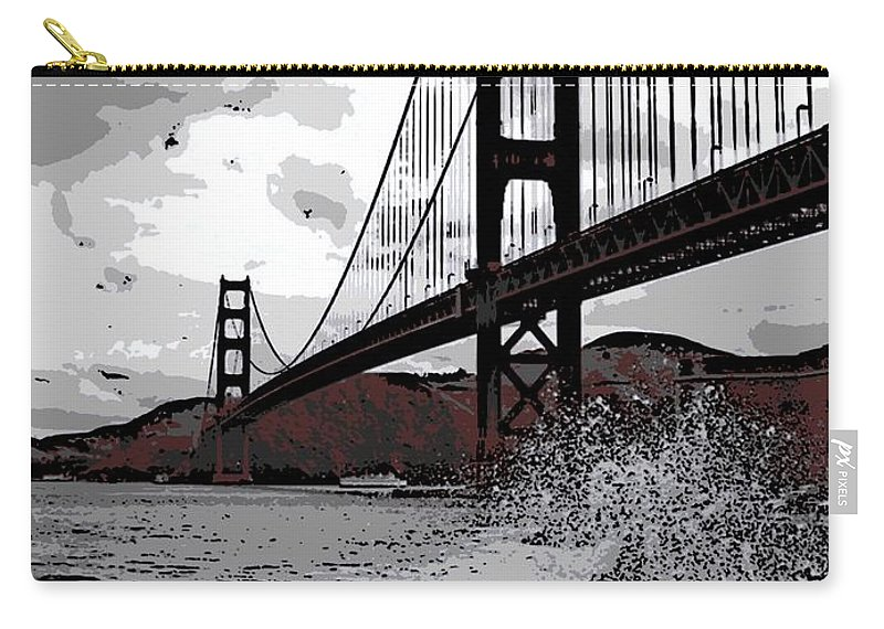 Golden Gate Bridge Carry-all Pouch featuring the photograph Sea Spray Under The Golden Gate Bridge by George Pedro
