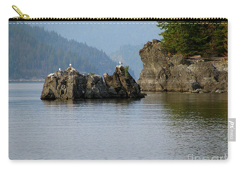 Seagulls Carry-all Pouch featuring the photograph Seagulls On Rock by Leone Lund