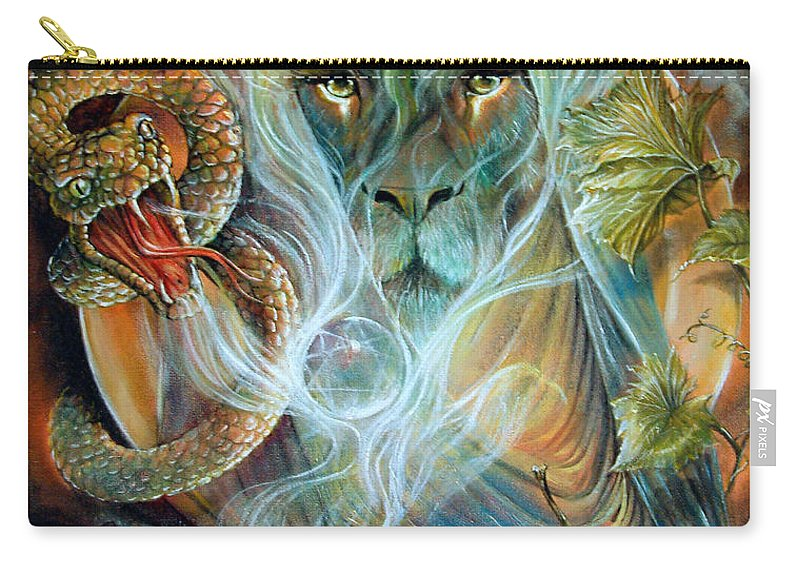 Fantasy Carry-all Pouch featuring the painting Search For The Black Toad by Penny Golledge